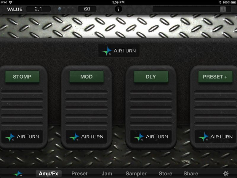 JamUp's AirTurn pedal interface